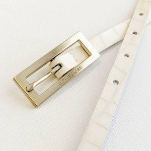 "Michael Kors Skinny White Leather Belt sz 41"""